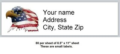 80 small Personalized Address Labels Us Flag Eagle Buy3 get1 free (x 9)