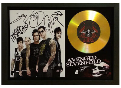 Avenged Sevenfold Signed Gold Presentation Cd Disc Collectable Memorabilia Photo