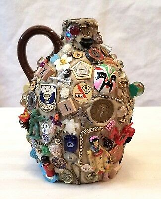 Memory jug newly made~lots of vintage trinkets,junk jewelry,charms,pins folk art