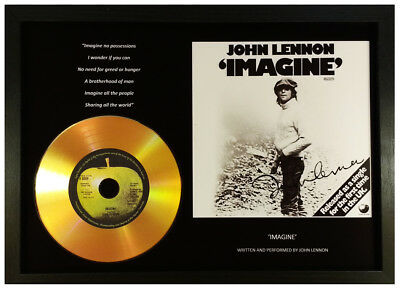 John Lennon 'imagine' Signed Photo Gold Cd Disc Display Collectable Memorabilia