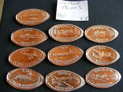 10 VINTAGE PLANES THEMED Elongated Coin Rolled Pressed Smashed Pennies (38)