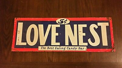 Antique Tin LOVE NEST The Best Eating Candy Bar SIGN Women Man CAVE Rare