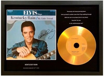 Elvis Presley 'kentucky Rain' Signed Photo Gold Cd Disc Collectable Memorabilia