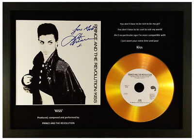 Prince 'kiss' Signed Photo Gold Cd Disc Display Collectable Memorabilia Gift