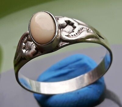 SILVER RING with WIGHT STONE !! UNKNOWN ORIGIN !!