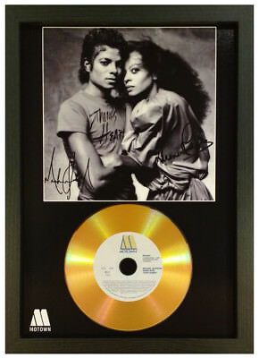 Michael Jackson - Diana Ross Signed Photo Gold Cd Disc Collectable Memorabilia