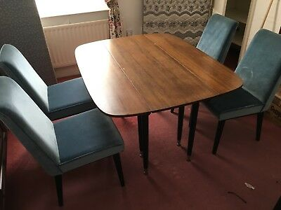 Retro Vintage Mid Century G Plan Librenza Tola Drop Leaf Dining Table and chairs