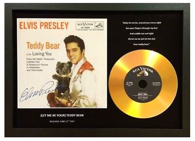 Elvis Presley 'teddy Bear' Signed Photo Gold Disc Collectable Memorabilia Gift