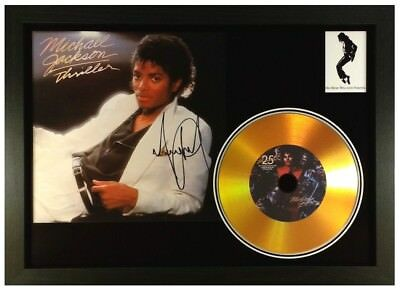 Michael Jackson 'Thriller' Signed Photo Gold Disc Collectable Memorabilia Gift