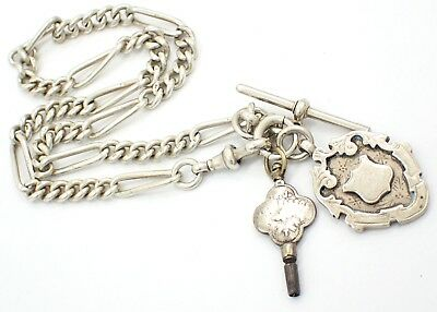 Antique Sterling Silver Fob Chain With T-Bar, Fob & Watch Key