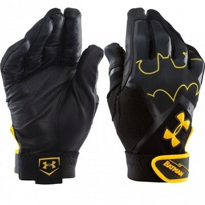new youth/boys L/large under armour clean up batting gloves alter ego- batman