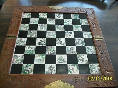 Asian Oriental Hand Carved Chess Set Inlaid Tiles Wood Drawers