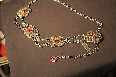 "Cool Vintage Chain Belt W/ Enamel Roses  by ""The Limited""  c. 1980's  Very Cool"