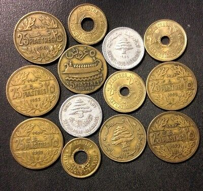 OLD Lebanon Coin Lot - 1925-1961 - 13 Uncommon Older Coins - Lot #M13