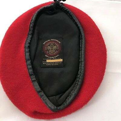 VINTAGE Boy Scouts of America Beret Hat XL Official Red Wool 7 3/8 7 1/ 2