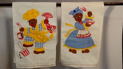 Vintage Black Americana Mammy & Pappy Towels- Hand Made- Vintage Kitchen Towels