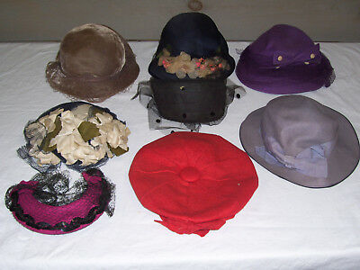 Lot of 8 Vintage Women's Hats from 1930s to 1940s Estate Find Neumann Endler