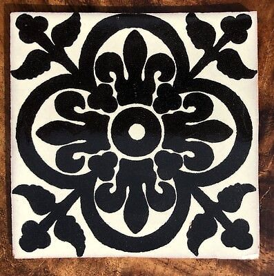 MEXICAN TALAVERA POTTERY Tile Hand Painted Black Mexican White - Black and white talavera tile