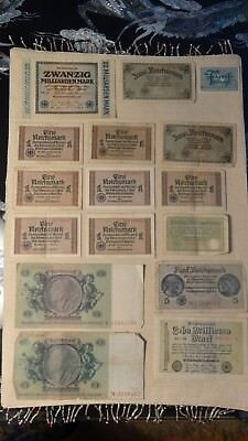 Lot Of 16 Older German Notes,    Look At These!