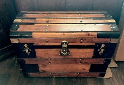 Trunks-n-Treasures BEAUTIFUL  Refinished Antique Dome  Top Steamer Trunk Chest