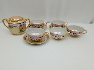 Japanese Tea Cup Set: Cherry Blossom Tree 5 Cups 3 Saucers Tea Pot Made in Japan