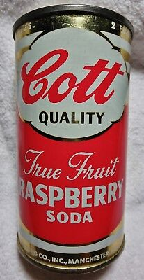 Cott Raspberry Soda can 12 oz 1950-60's Manchester JIMMY FUND bank top.Free Ship