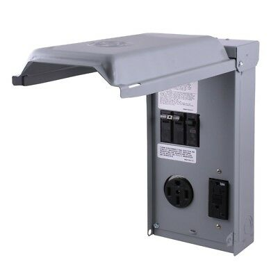 GE 70 Amp 2-Space 2-Circuit 240-Volt Unmetered RV Outlet Box 50 Amp Receptacles