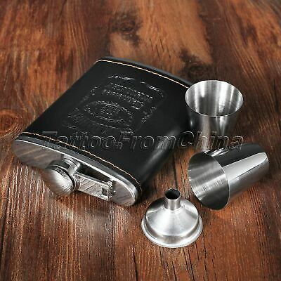 7oz Liquor Hip Flask Stainless Steel Leather Whiskey Alcohol Wine Flagon Bottle