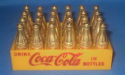 "24 1.5"" Gold Tone Metal Miniature Coca Cola Bottles Yellow Plastic Coke Case"