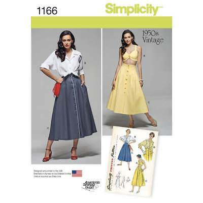 NEW Simplicity 1166 Misses' Vintage Blouse Skirt & Bra Top By Spotlight