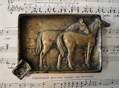 Antique French Art Nouveau Bronze Ashtray Tray with Horse c1920