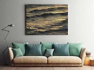 Framed Canvas Stretched Print Wave Sea Sunset Water Surface