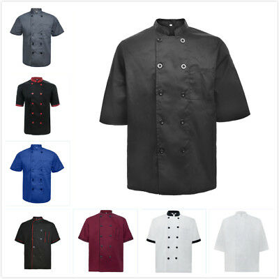 TopTie Short Sleeve Chef Coat Jacket Restaurant Uniform Men Women Unisex