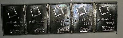 Palladium 1 Gram Bar Bullion Valcambi Suisse CombiBar 1O AVAILABLE! !