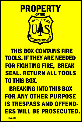 """U.s. Forest Service Sign 8""""x12"""" Metal Fire Tools Log Cabin Camp Ground Decor"""