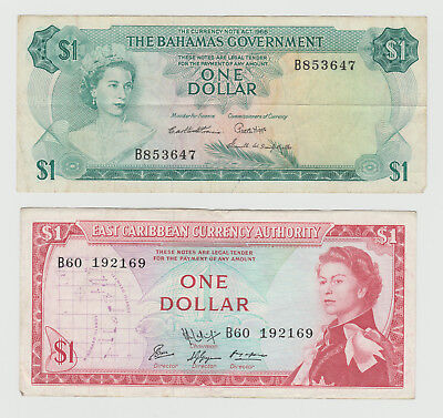 Bahamas, East Caribbean. Ex Britain colonies. Two popular notes, one price.