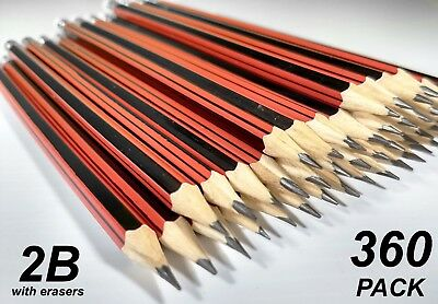 Bulk 360 Pack 2B Lead Pencils with Erasers Red Stripe Barrel