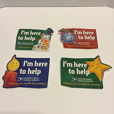 Four United States Postal Service 1996 I'm Here TO HELP Holidays Employee Badges