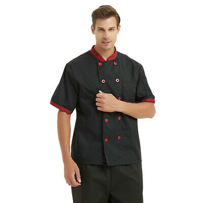 TopTie Short Sleeve Chef Coat Jacket Uniform Button Restaurant Unisex Men Women