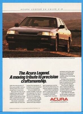 1986 Acura Legend Sedan 24 Valve V6 Moving Tribute Honda Car Ad