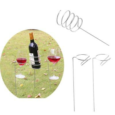 Garden Picnic Beach Wine Bottle & Glass Holder Stakes 3 Pieces Set