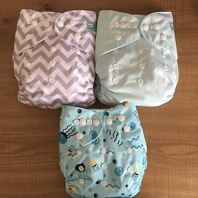 modern cloth nappies x 3 with inserts included