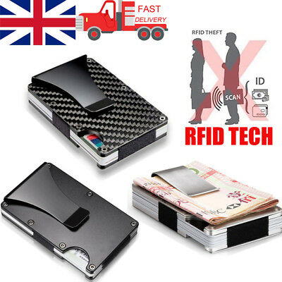 Carbon Fibre ID Wallet Money Clip and Credit Card Holder Slim Compact RFID Cool