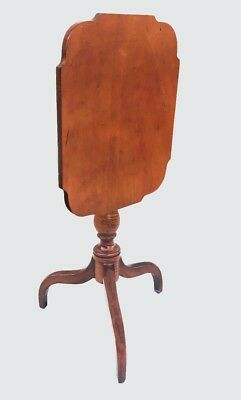 18Th C Tiger Maple & Cherry Antique Federal Tilt Top Candlestand
