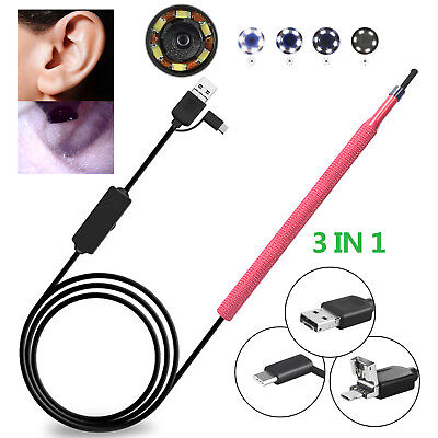3 in 1 USB Ear Cleaning Endoscope Visual Earpick With Mini Camera Cleaning Tool