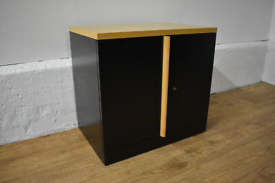 Black/Oak Desk Height Herman Miller Double Door Sotage Cabinet 72cm x 80cm x46cm