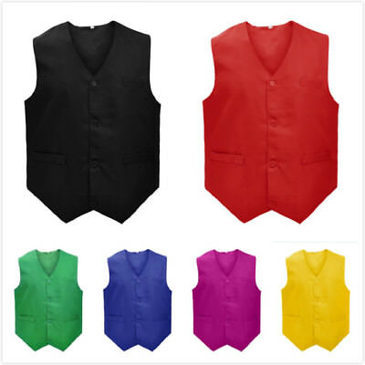 TopTie Men Work Vest w/ 3 Pockets Waiter Bartender Uniform Supermarket Clerk