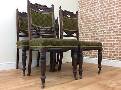 Antique Edwardian Walnut Set of 4 Carved Dinining Chairs