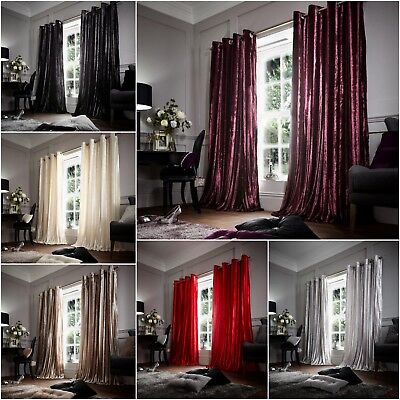 Luxury Stripe Shiny Fur Eyelet Curtains Ring Top Lined With Tie Backs, Polyester