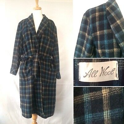 Vintage Gents 1940s 1950s 100% Wool Robe Dressing Gown Check Plaid Size S/M